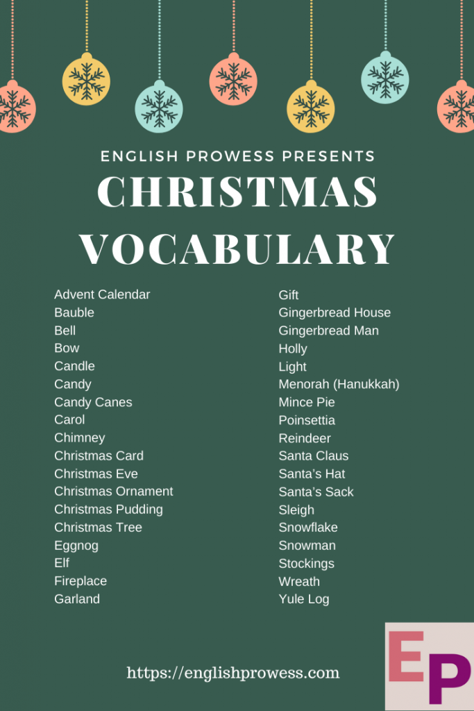 Christmas Vocabulary - 36 Awesome Christmas celebration words